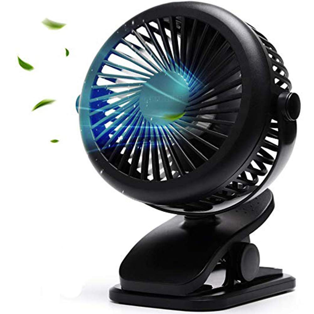 Rechargeable Fan Battery Operated, Clip On Strong Wind Baby Stroller Fans, Portable Quiet Cool Cooling Pet Fan (Black)