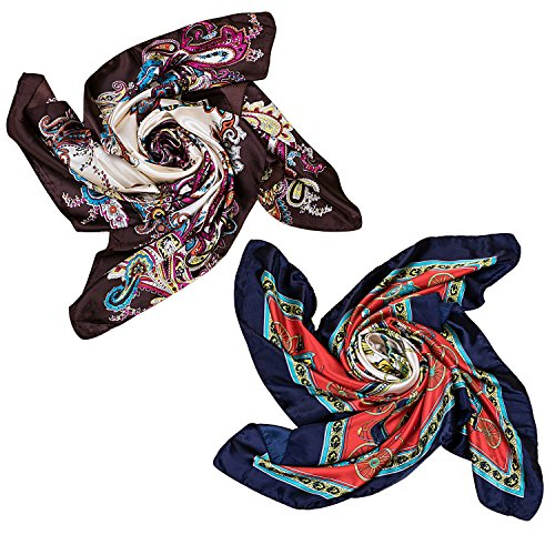 - 2 PCS Women's Large Satin Square Silk Feeling Hair Scarf 35 x 35 inches
