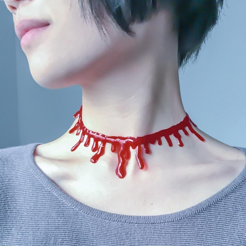 ESHOO Halloween Prop Vampire Blood Necklace Choker Scary Cosplay Costume Accessories Gift