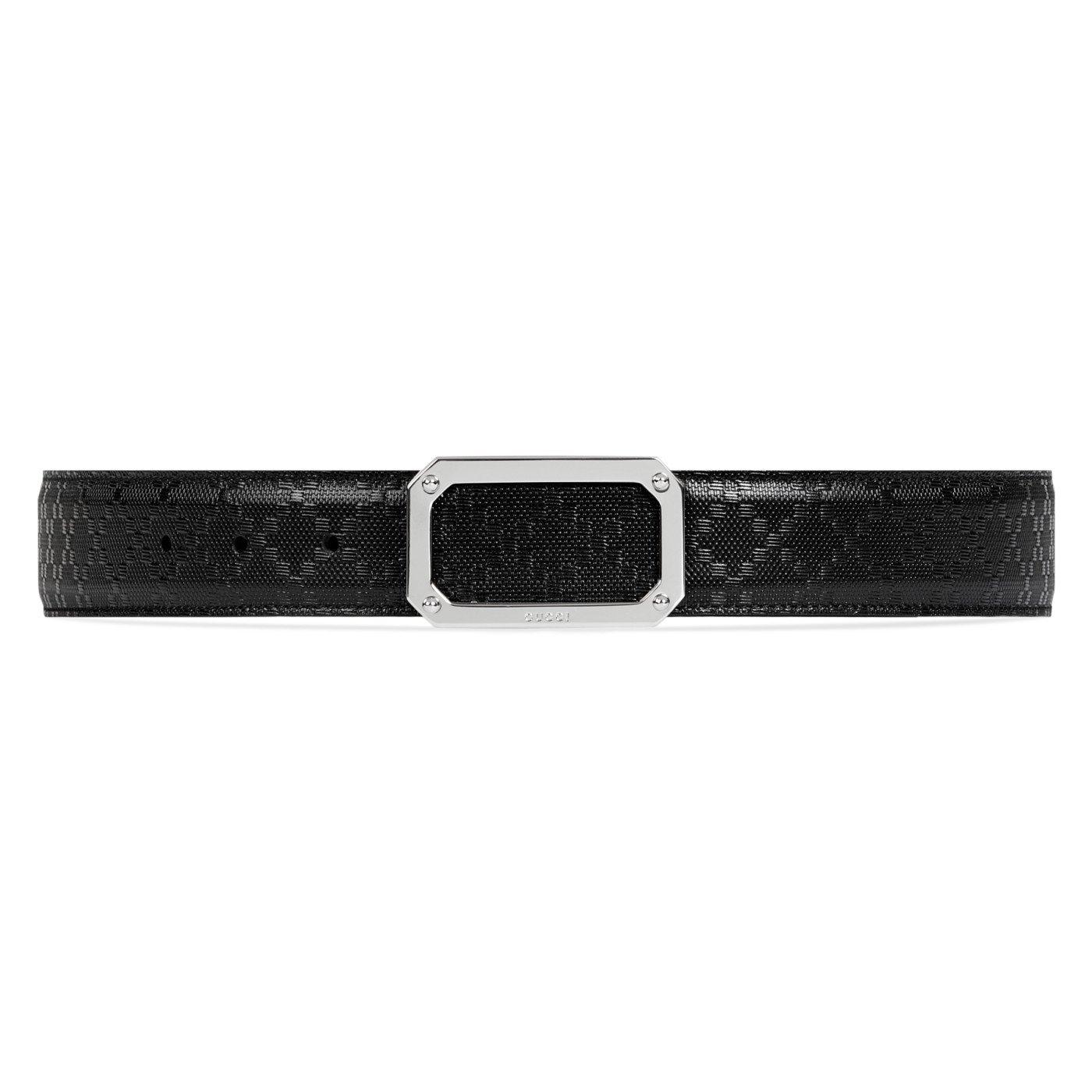 e960a6e08d2dca Top3: Gucci GG Black Diamante Leather Square Rectangular Belt