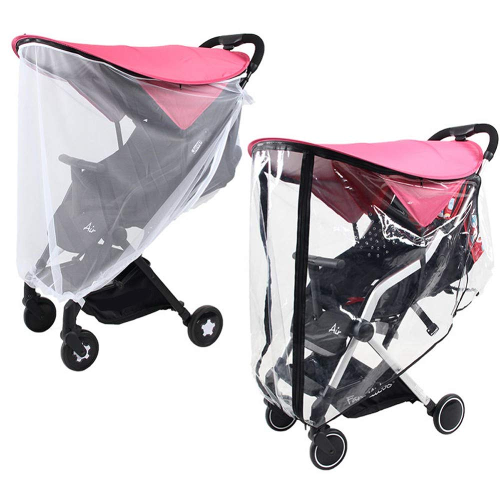 3-in-1 Pink Stroller Sun Shade Rain Cover Mosquito Net Universal UV Protection Cover, Princess Awning Canopy Extender, Baby Carriages Stroller Weather Shield Insect Netting,A1