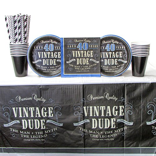 Vintage Dude 40th Birthday Party Supplies Pack for 16 Guests Includes: Straws, Dessert Plates, Luncheon Napkins, Cups, and Tablecover (Bundle for 16)