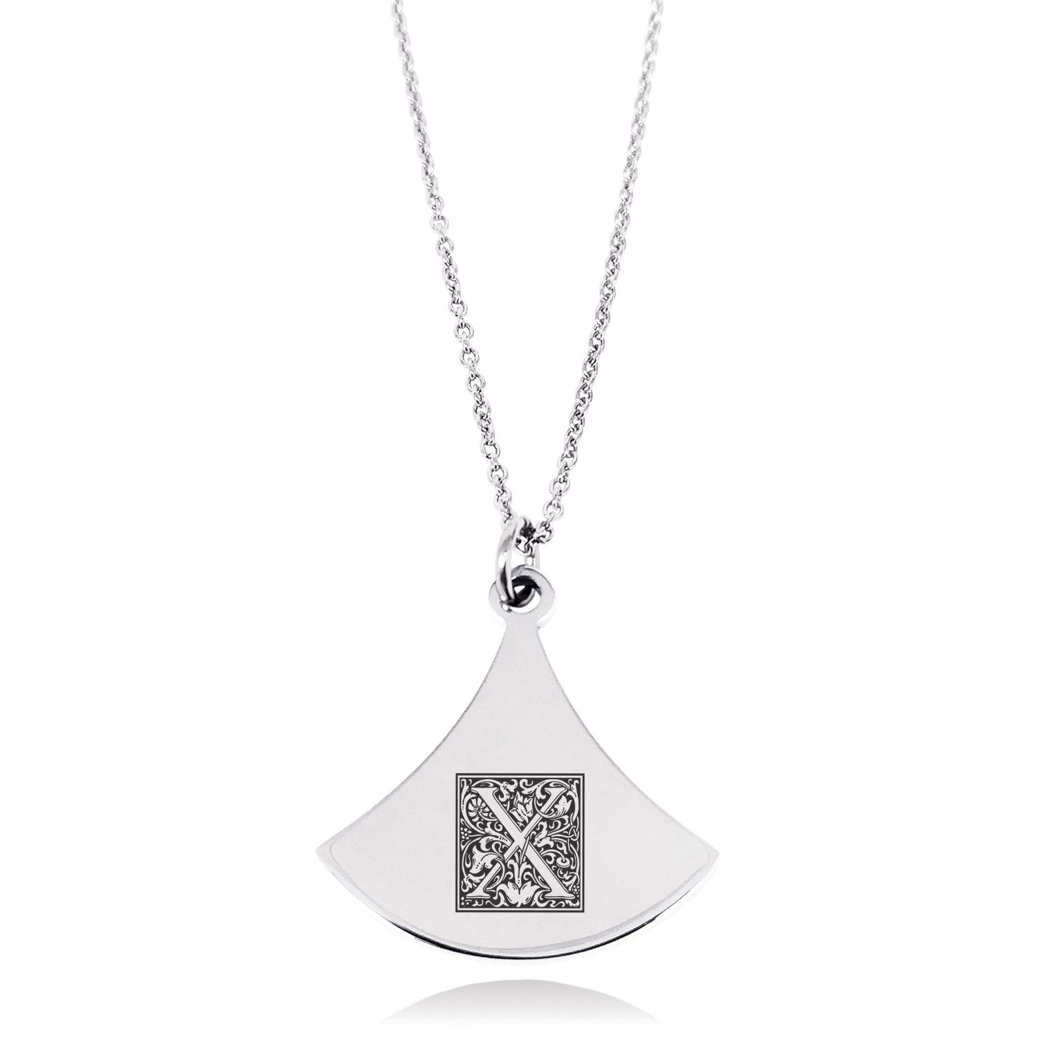 Stainless Steel Letter X Initial Floral Box Monogram Pendulum Curved Triangle Charm Pendant Necklace