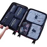 Hqeupiao Packing Cubes,Travel Cubes,Clothing Storage - 7 Set Packing Cubes Travel Luggage Organizer Storage Bags with Shoe Bag