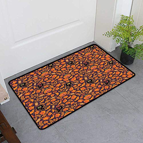 Front Door Mat Carpet, Vintage Halloween Custom Doormats for High Traffic Areas, Halloween Themed Elements on a Purple Background Scary Mosters (Dark Purple Orange, H24 x W36)