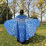 VESNIBA Soft Fabric Butterfly Wings Shawl Fairy Ladies Nymph Pixie Costume Accessory (197125CM, Blue-2)