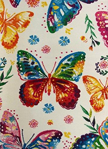 KC Cubs Boy Girl Bedroom Modern Decor Area Rug Carpet Collection Kids Children Multicolor Rainbow Butterfly (5' 3