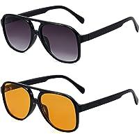 ASHOWIN(2paquetes) lentes de sol clásicas de aviador vintage para mujeres y hombres con montura grande, gafas de sol…