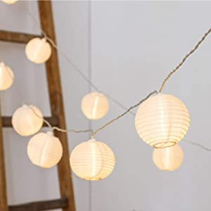 Vigdur Fairy Lights Mini-Lantern String Lights Waterproof Connectable Nylon Hanging Light Plug in 10FT White Decorative for Patio Wedding Party Bedroom Indoor Outdoor Use