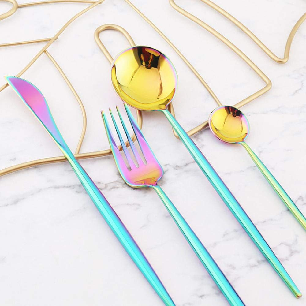 Cutlery Set Fashion Mirror Gold Cutlery Set 18/10 Stainless Steel Silverware Tableware Set Service Bright Chopstick Forks Knives Spoons Dinner Set (Color : Blue+Purple) by Sihui