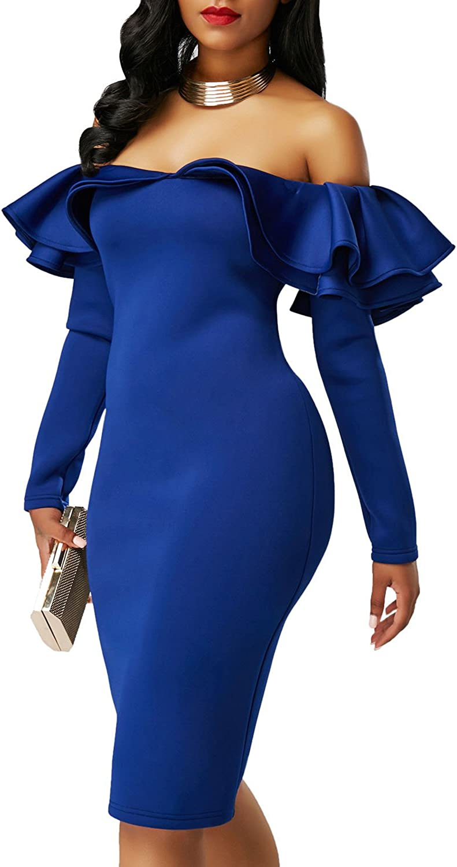 Z-one Women New Ruffle Off Shoulder Long Sleeve Bodycon Party Evening Mini Dress