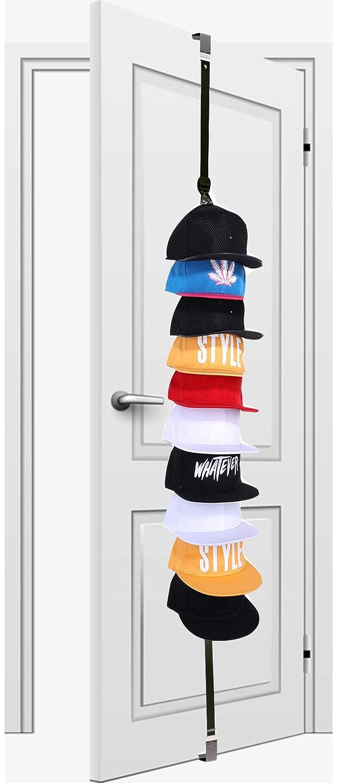 Hat Rack Organizer Hanger Door - for Baseball Cap Holder Racks | Holds 10 Hats ( Black)