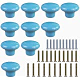 HanLingGG Ceramic Knobs for Cabinet Round Style Cupboard Door Knobs Drawer Dresser Pull Handles With 3 kinds of Screws -Set of 10 (Blue)