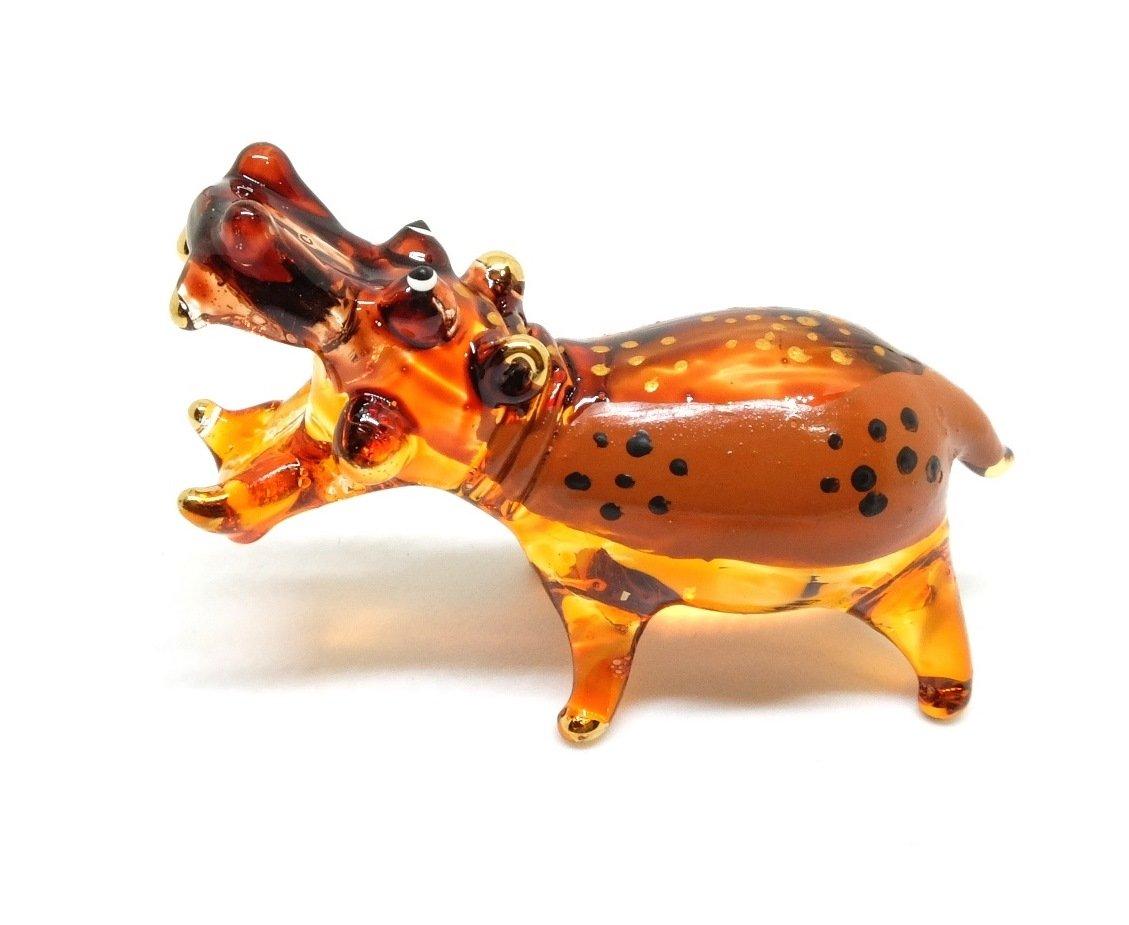 Handmade Hippo Hippopotamus Art Art Glass Blown Wild Animal Figurine - Model 2018 We are Handmade Figurine Glass Blown