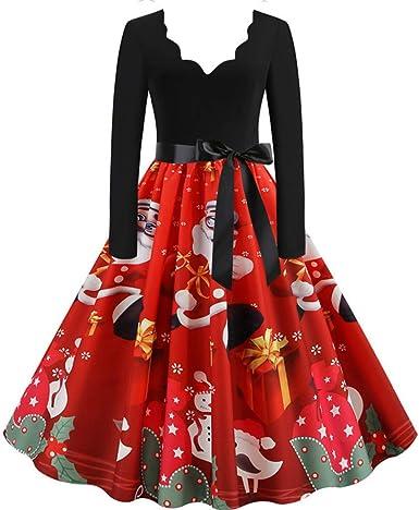 Vestido Vintage de Navidad Mujer Vestidos 1950s Pin Up Elegante ...