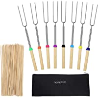 Hemoton 8 pcs Marshmallow Roasting Sticks with Wooden Handle Smores Skewers Wooden Skewers Telescoping Rotating Forks for Camping, Campfire Firepit and Sausage BBQ, 32 Inch