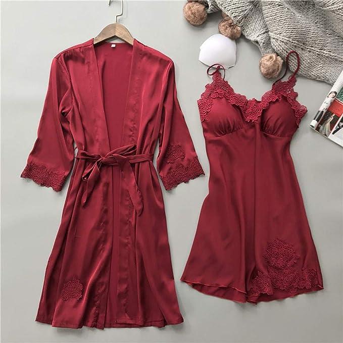 TIFIY Lencería Mujer Seda Vestido de Bata de Encaje Babydoll Camisón Ropa de Dormir Kimono Conjunto(Vino, XL): Amazon.es: Ropa y accesorios