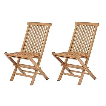 Ozalide Juego de 2 sillas plegables (teca (categoría: silla ...