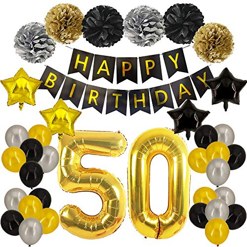 50th Birthday Decorations - Black and Gold Party