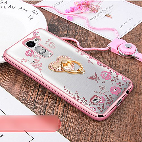 Price comparison product image LG V20 Case,ikasus Pink Butterfly Floral Flower Bling Crystal Rhinestone Diamonds Clear Rubber Rose Plating Frame with Pink Straps Love Heart Diamonds Kickstand Soft TPU Bumper Case Cover for LG V20