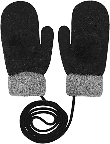 Womens Winter Cold Weather Super Warm Cozy Wool Thick Fleece Lined Gloves Mittens