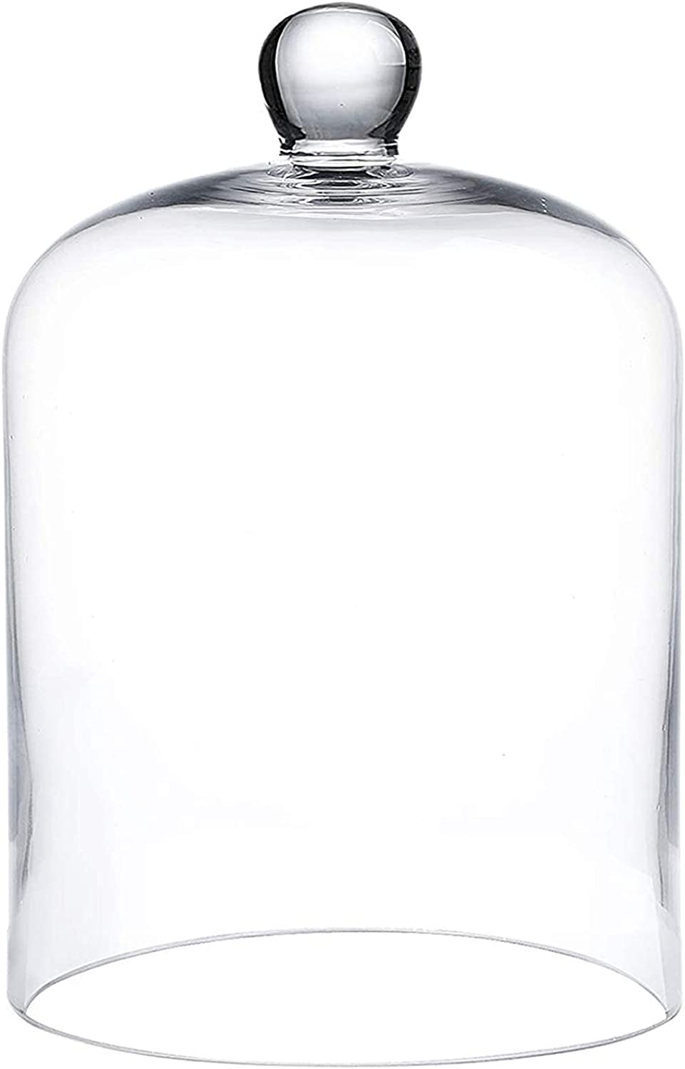 RenRenLe 8.5X4.7 Inches Bell Jar Glass Display Dome Glass Cloche Bell Dome Glass Display Cover for Dessert Foods (Interior Size 6.3 x 4.7 Inches)