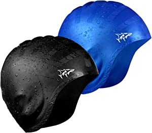 Swim Cap for Long Hair 2 Pack 2019 Thicker Design Solid Silicone Waterproof Swimming Caps for Woman Adults and Men