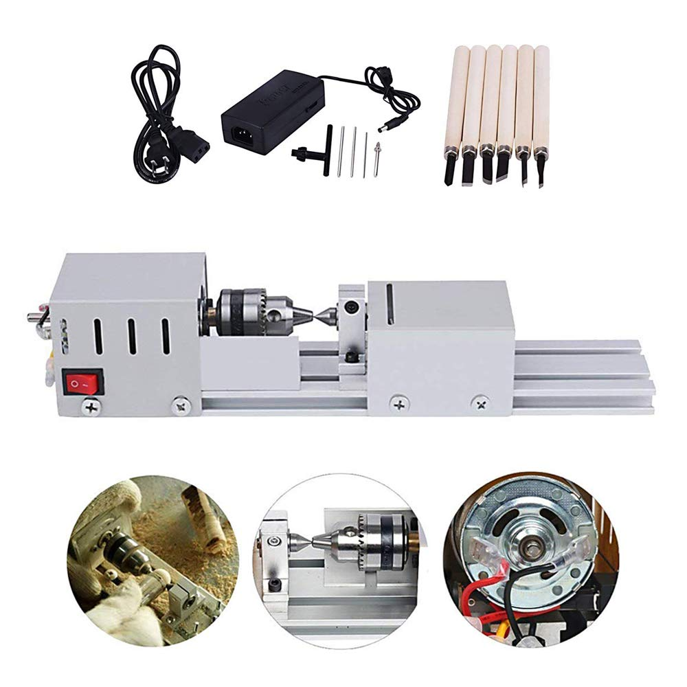 MYSWEETY DC 24V 80W Mini Lathe Beads Polisher Machine CNC Machining for Table Woodworking Wood DIY Tool Lathe Standard Set …