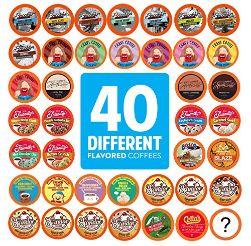 Two Rivers Flavored Coffee Pods, Compatible with 2.0 Keurig K-Cup Brewers, Variety Pack, 40 Count