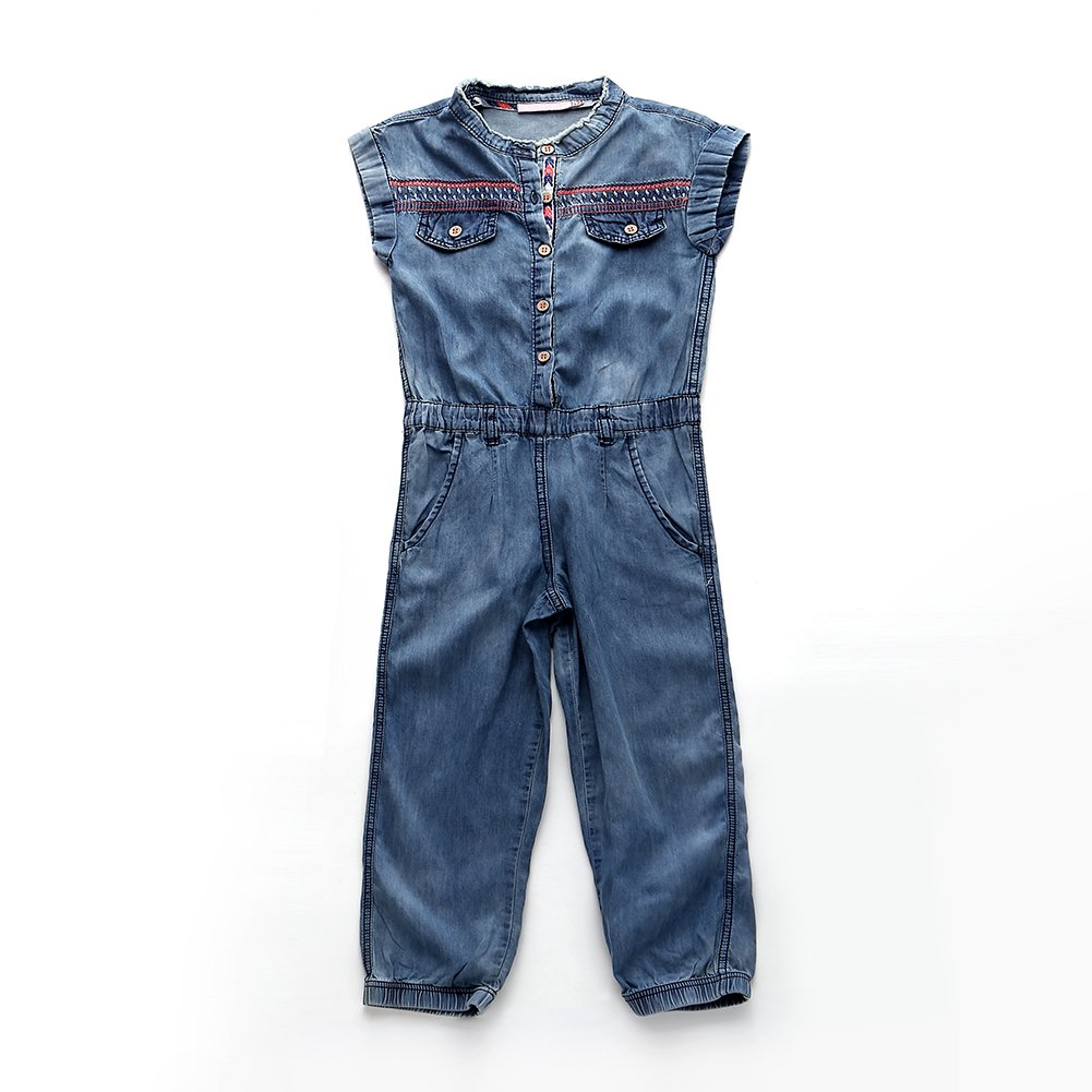 Snowdreams Girls Denim Overalls Embroidery Jumpsuit Outfit Size 6X