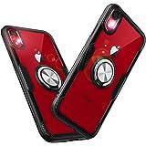 スマホケース 6.1インチ iPhone XR ケースクリア リング付き耐衝撃携帯カバー薄型軽量アイフォンXRケース [9H強化ガラス スタンド機能車載ホルダー対応ストラップホルダー付き]保護ケース 携帯ケース おしゃれ (iPhone XR, ブラック+シルバー)