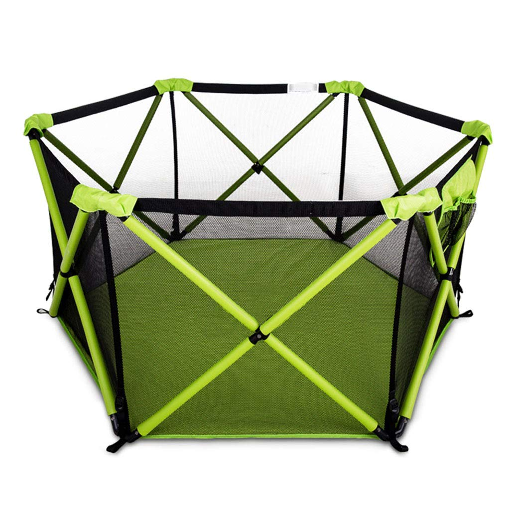 ベビーサークルテント安全のための特別クッション付き、旅行用、屋内用と屋外用プレイヤードグリーン(ボールは含まれていません)   B07R153B91