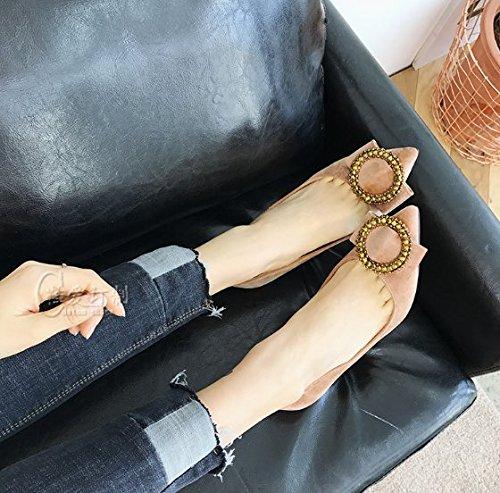 35 Ajunr Sandalias de 7cm superficial Punta Con Moda albaricoque Transpirable una diamante Con 35 copa talones elegante Bridesmaid Boca zapatos CtnCBrUwq