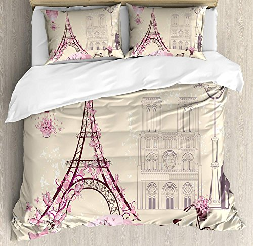 Kiss Bedding Sets, Floral Paris Symbols Landmarks Eiffel Tower Hot Air Balloon Bicycle Romantic Couple, 4 Piece Duvet Cover Set Quilt Bedspread for Childrens/Kids/Teens/Adults, Ivory Pink,Full Size
