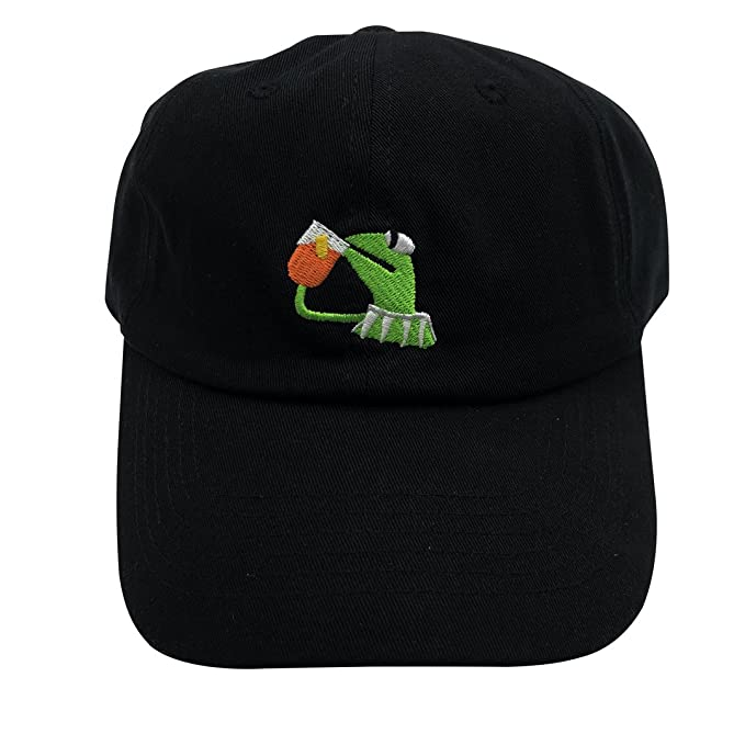 dbc40119466 Kermit The Frog Dad Hat Baseball Cap Sipping Sips Drinking Tea Champion  Adjustable Black