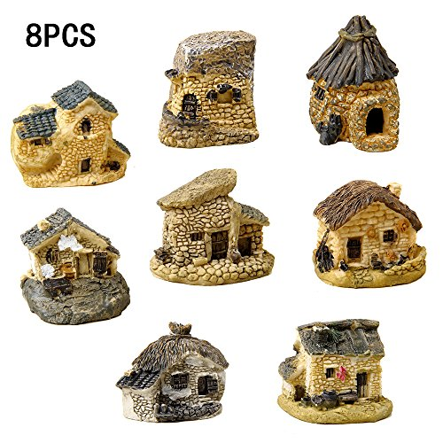 8 Pieces Fairy Garden Accessories Miniature Fairy Garden Stone House for Miniature Garden Ornaments Dollhouse Decor (Random color)