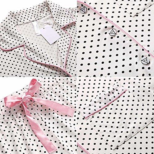 Pigiameria Estate Pigiama Modfine Pezzo 2 Set Donna Corta Bianco Camicia p6nqwES7