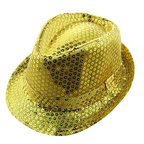 UCQueen Children Solid Color Sequins Fedora Hat Kids Hats Caps Flashlight Unisex Colorful Party and Club Light up Gold