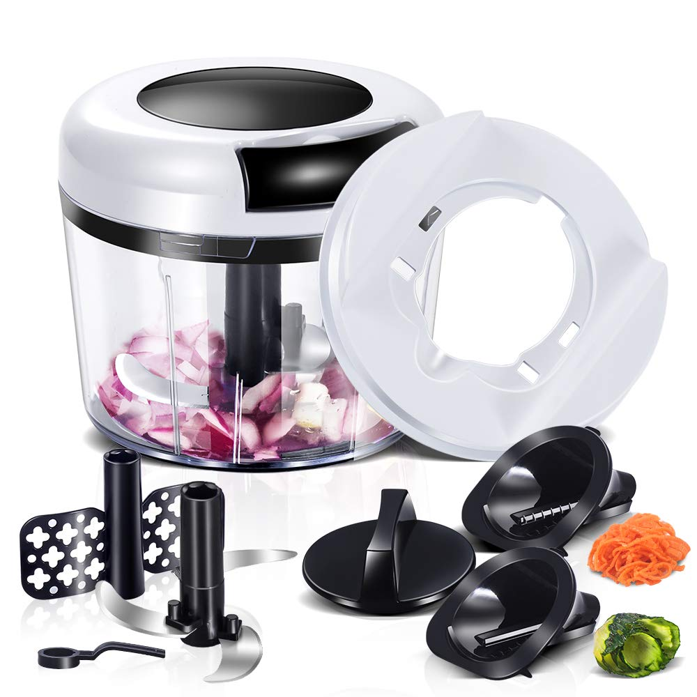 Manual Food Chopper with 5 Blades Pull String Chopper for Vegetables, Onion, Fruit, Nuts, Herbs, Salsas (870ml) Masthome