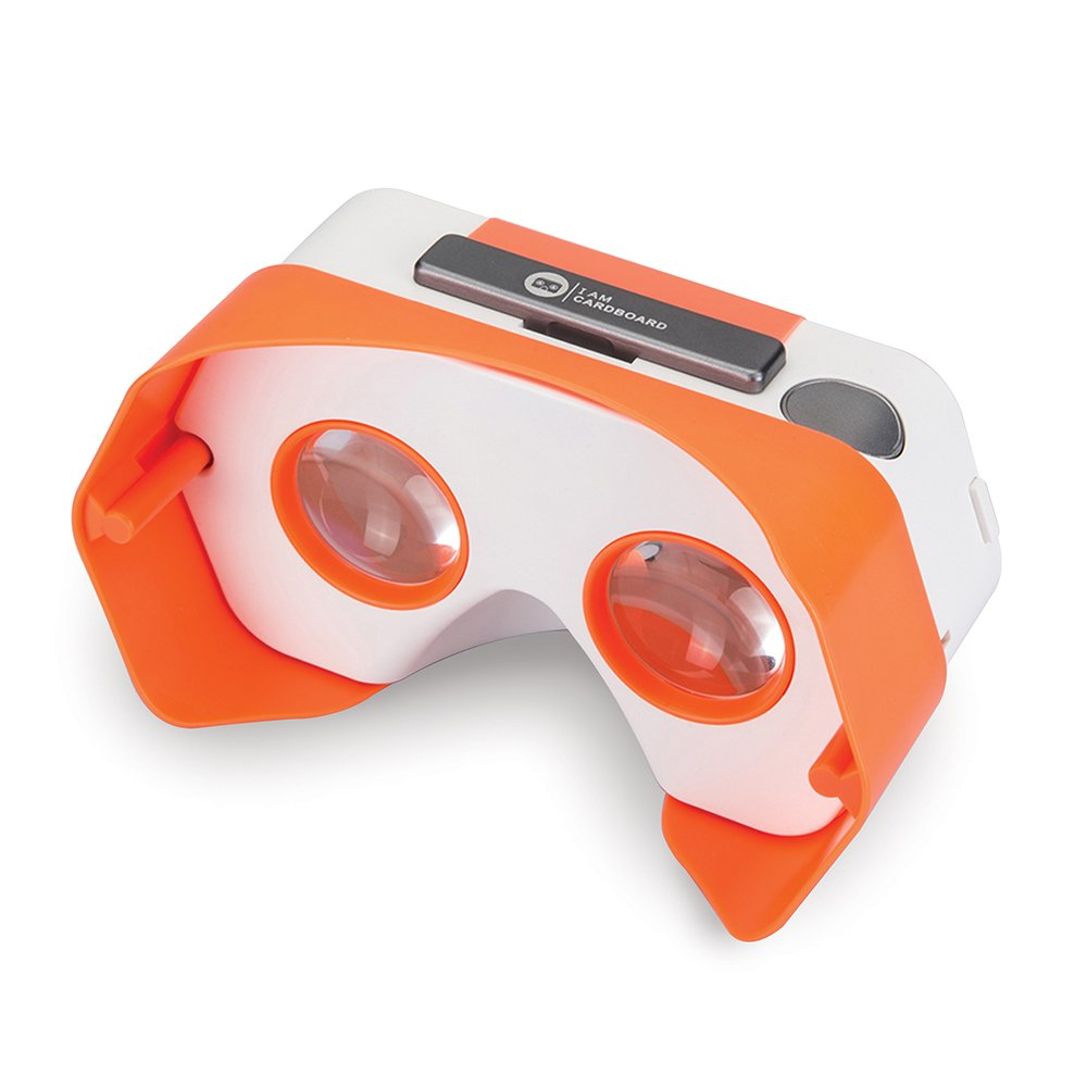 Newly Improved DSCVR Virtual Reality Viewer for iPhones and Android smartphones - Inspired by Google Cardboard 2.0 - Google WWGC certified VR viewer (Orange)