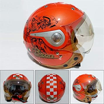 HOEMKUY Casco Moto Vintage Cruiser Chopper Scooter Cafe Racer Casco Moto 3/4 Open Face