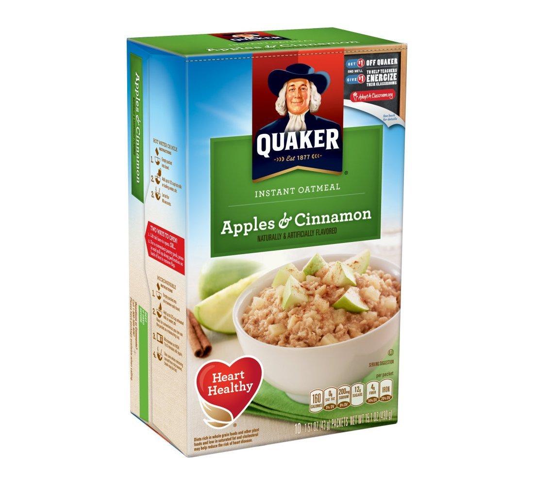 Quaker Instant Oatmeal Apple Cinnamon 10 pk (Pack of 12)