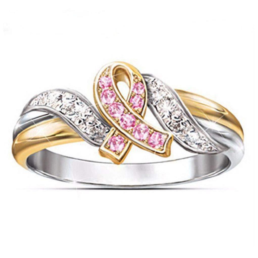 Gaweb Fashion Two Tone Color Shiny Rhinestone Ribbon Style Hope Finger Ring Jewelry