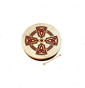"Waltons Bodhrán 18"" (Kilkenny Cross) - Handcrafted Irish Instrument - Crisp & Musical Tone - Hardwood Beater Included w/Purchase"