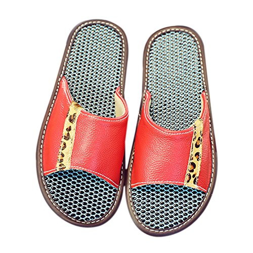 Floor Wooden W TELLW Leather Slippers for Cowhide Spring Women Smelly Autumn Summer Men Anti Rouge Corium n6nqzR8F