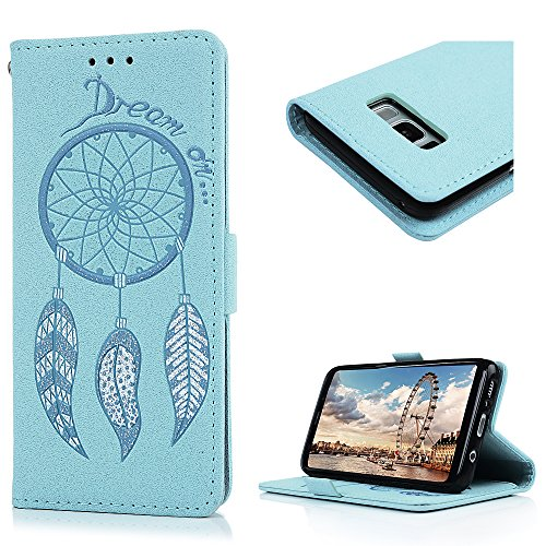 Modern Embossed Belt (Galaxy S8 Case, KASOS Embossed Dream Catcher Pattern Short Buckle Soft Leather Wallet Case with TPU Inner Kickstand Feature Card Holders & Hand Strap for Samsung - Light)