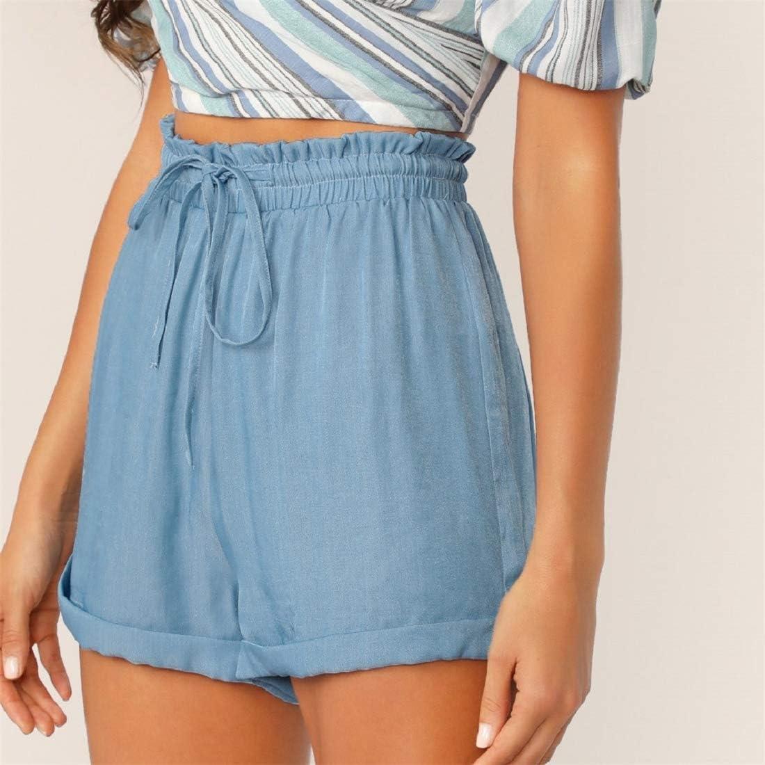 Womens Casual Drawstring Elastic Waist Shorts Rolled Hem Summer Beach Shorts Solid Color Hot Pants