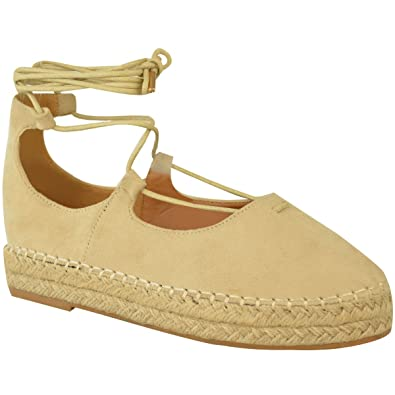 7108461861d Fashion Thirsty Womens Lace Up Strappy Low Flat Canvas Wedge Espadrilles  Sandals Size 5