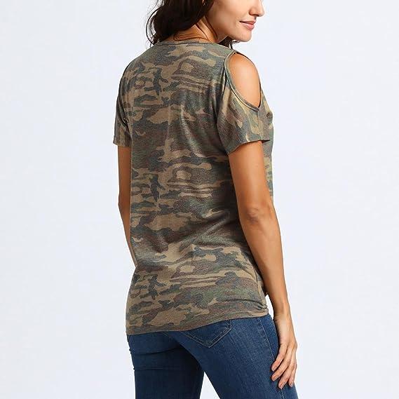 DOGZI Blusas Mujer Verano 2018 Mujeres Casual Frío Hombro Nudo Diseño Camuflaje Tops Camisetas Blusa Blusas Asimetrica para Mujer: Amazon.es: Ropa y ...