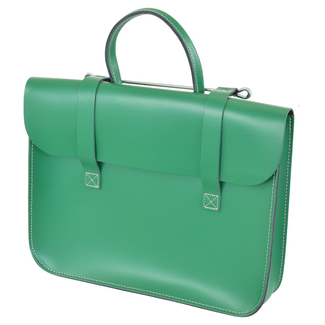 Oxford Traditional Leather MC1-LG Traditional Classic Leather Music Case, Light Green